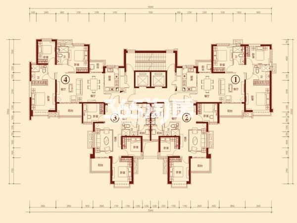 恒大绿洲(武威)7-2(2-33层)户型图