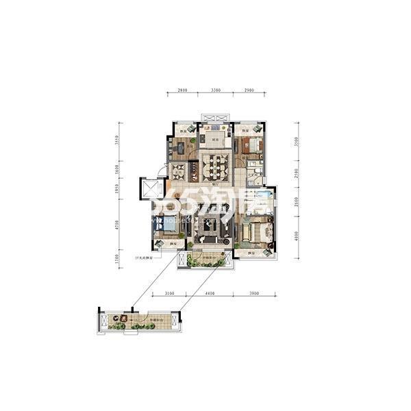 (1T2)132平四室小洋房边户标准层户型