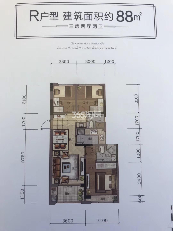 汇高栢悦中心项目9号楼R户型88方户型图