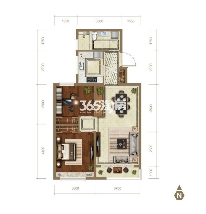 93平米两室两厅一卫