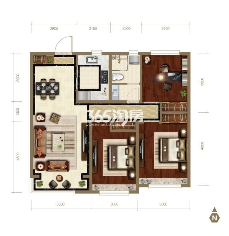 112平米三室两厅一卫
