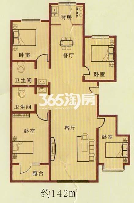 四室两厅两卫142平方米