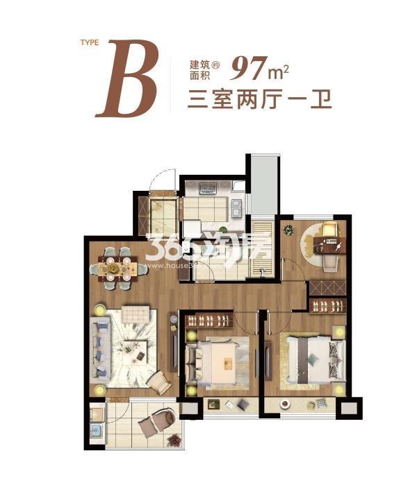 星悦湾名苑B户型 97平 三室两厅一卫