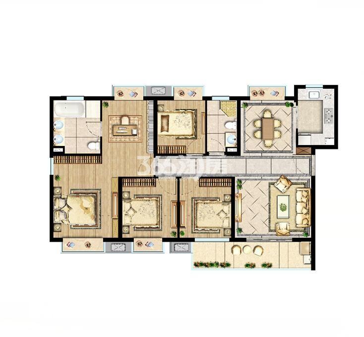 中洲崇安府高层140平尊奢府邸户型图