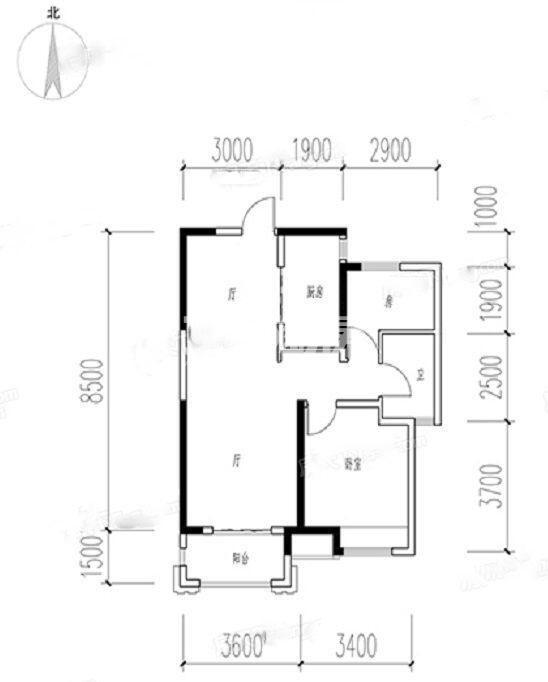 保利天悦两室一厅81㎡户型图