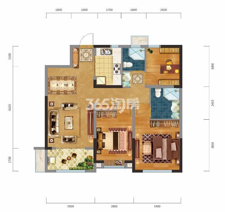 中建昆明澜庭三室两厅100㎡户型图