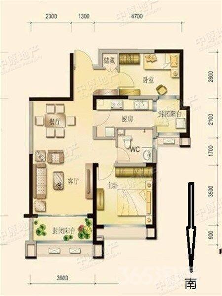 八里台碧桂园2室1厅1卫95.5平米2013年产权房精装