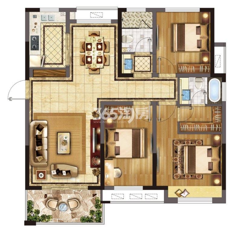 冠城大通蓝郡D组团114㎡三室二厅两卫户型
