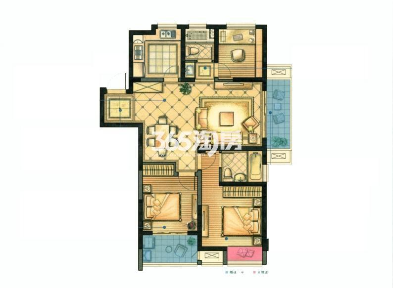 红豆香江豪庭二期104平户型图