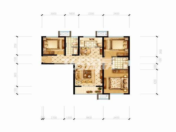 明丰阿基米德105平方米3室2厅一厨一卫户型图