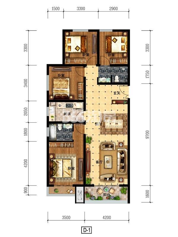 d1户型 149.24㎡ 四室两厅一厨两卫