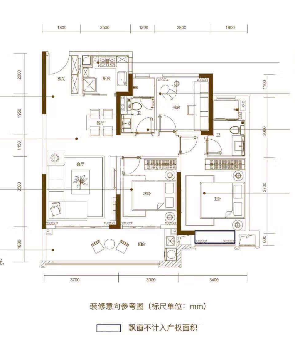 禹洲绿城蘭园高层112㎡户型图