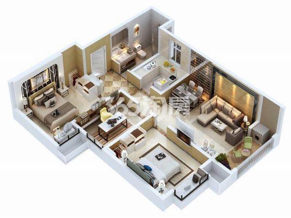 金泰经开花城C3户型三室两厅一厨一卫106.27㎡