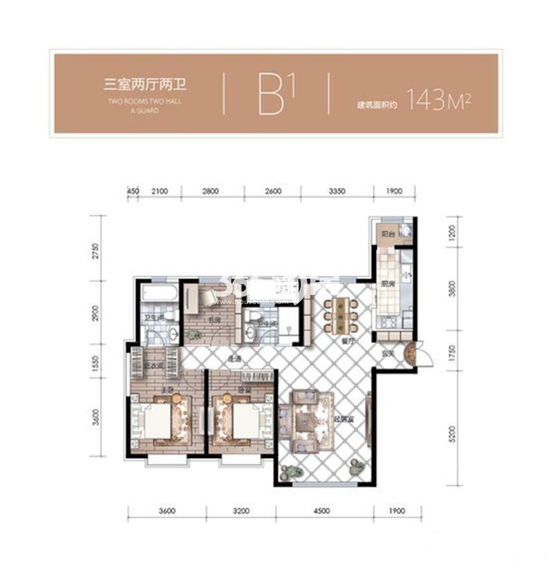 3室2厅1厨2卫 143平米