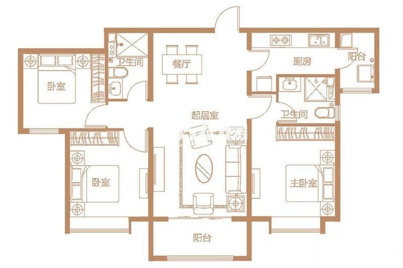 C2户型 3室2厅1厨2卫 129平米