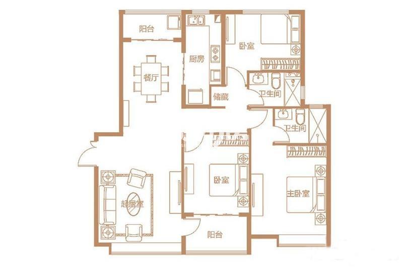 D1户型 3室2厅1厨2卫 152平米