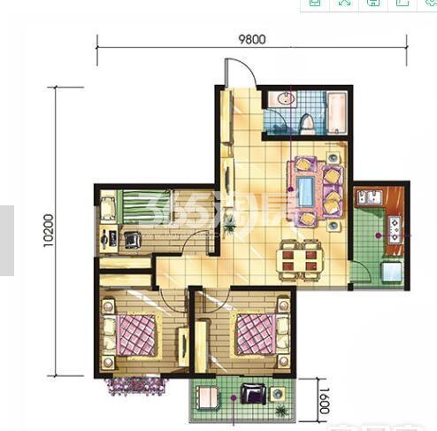 恒天第五座d2户型3室2厅1卫面积约100.32平米