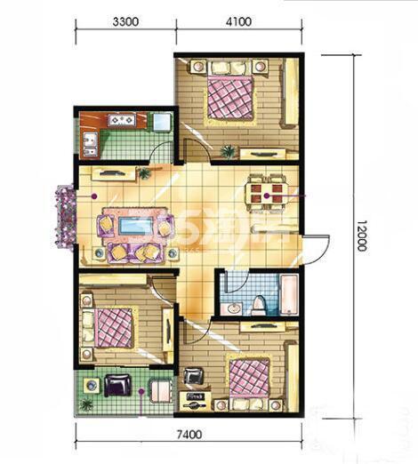 恒天第五座C2户型3室2厅1卫建筑面积约110.61平米