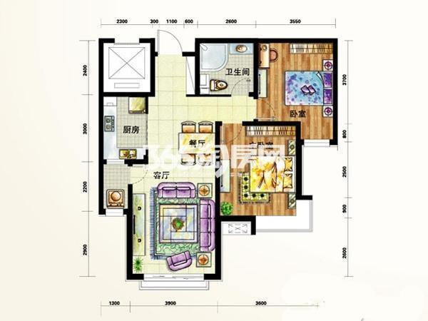 定西 天庆嘉园户型图4#5#A3户  面积 102.00㎡ 2室2厅1卫1厨
