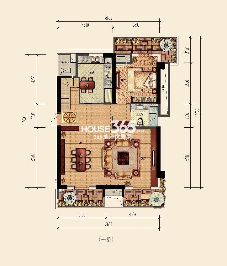 云邸跃层一层215方户型图