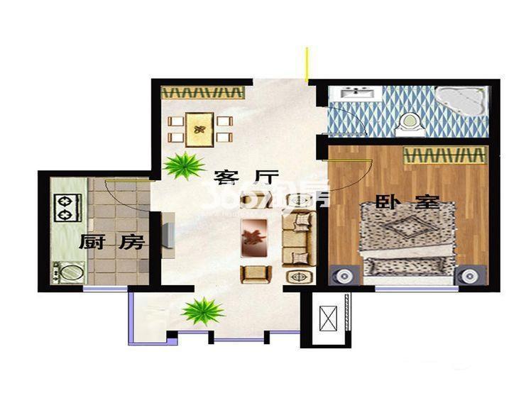 洋房C2户型 62平米一室