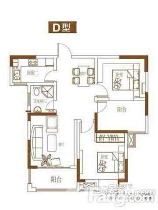 中北龙池湾3室2厅1卫86.46平米整租毛坯