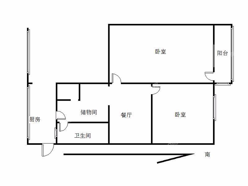 鼓楼区小市黄家圩2室1厅户型图