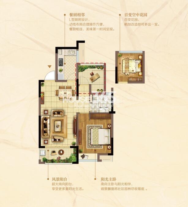 J阔景高层77.04㎡两室两厅一卫