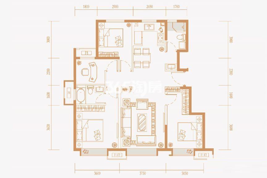 洋房标准层110㎡E户型