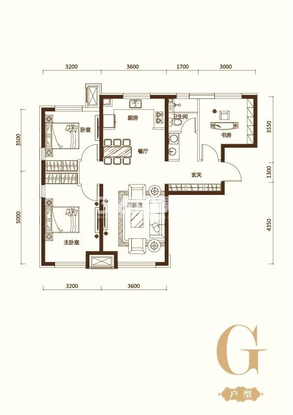 G户型3室2厅1卫 105平米