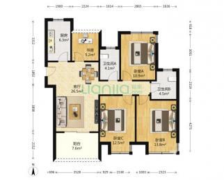 艾菲国际4室2厅2卫115平方产权房毛坯