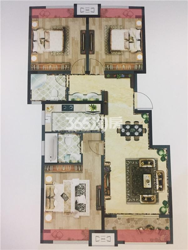 荣耀府108㎡三房两厅两卫户型图