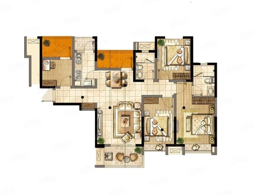 雅居乐林语城4室2厅1卫80万元133.33平方