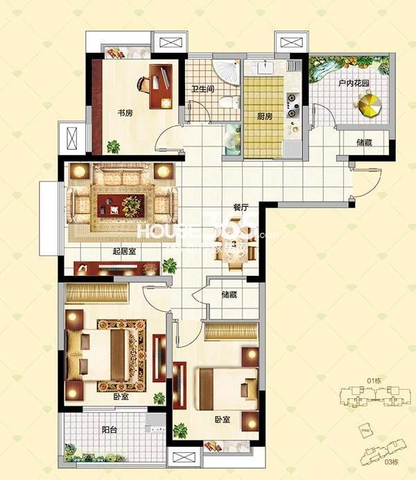 B1户型3+1室两厅一厨两卫108㎡