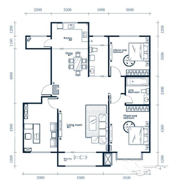 中冶蓝城一期4、5、8、9#楼A4户型图