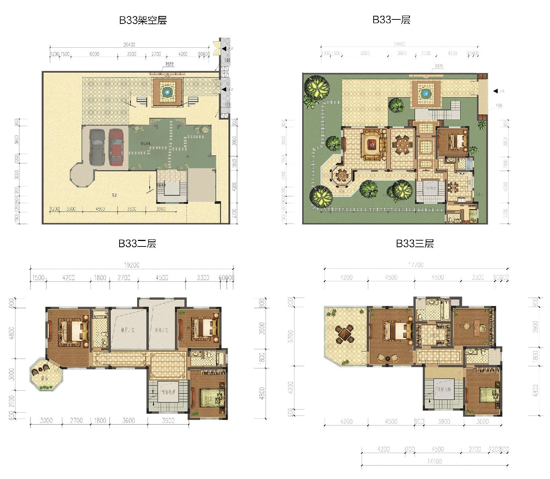 成龙官山邸B33幢独栋户型约374㎡(地下双车位)