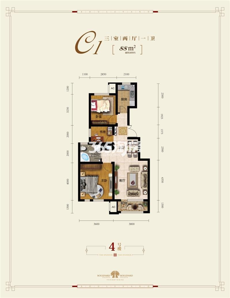 洋房88平米三室两厅一卫
