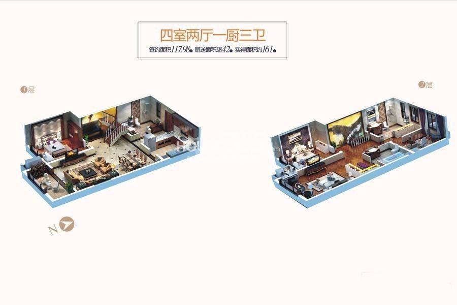 天朗蔚蓝东庭4号楼J户型4室2厅3卫1厨117平米