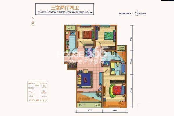 天朗蔚蓝东庭6、8号楼E户型3室2厅2卫1厨119㎡