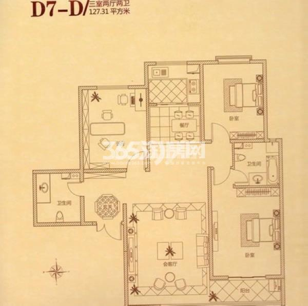 瑞城三室两厅两卫127.31㎡