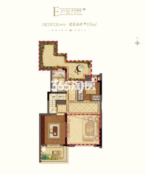 平江风华E户型2楼 上叠133平 3室2厅2卫
