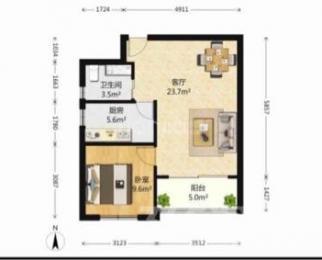 武夷水岸家园1室1厅1卫57平米精装产权房2010年建