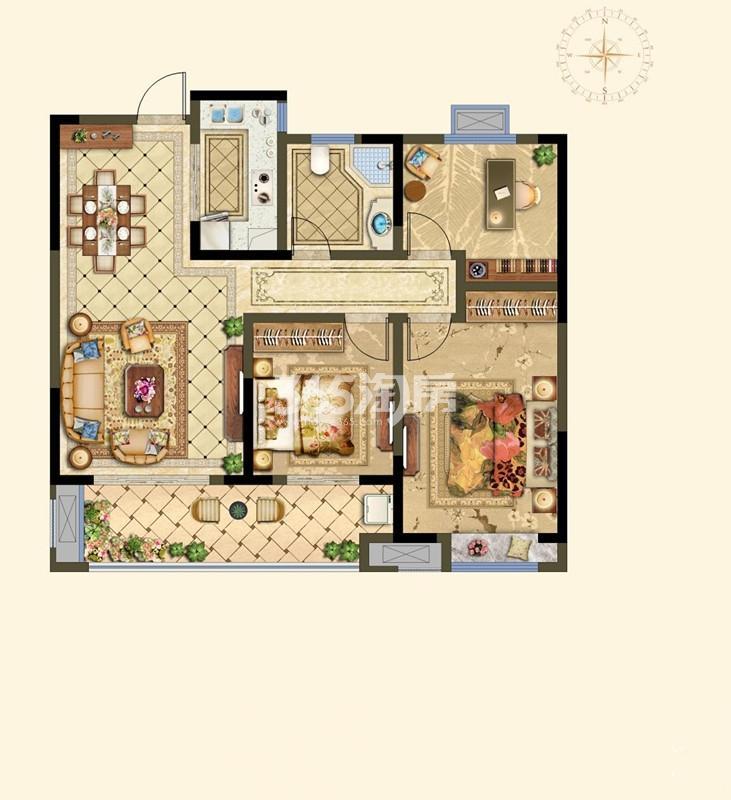 B高层户型 3室2厅 108㎡