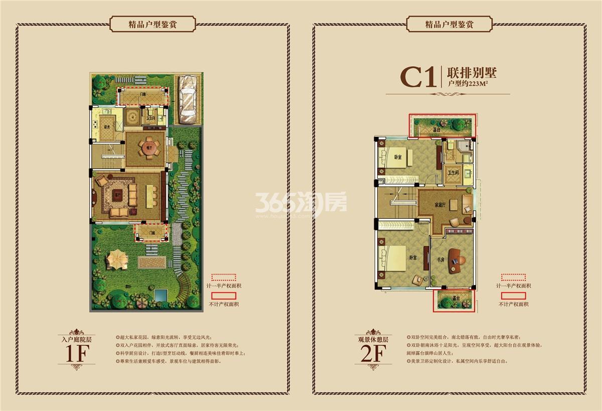 御景园联排别墅C1户型图1-2F