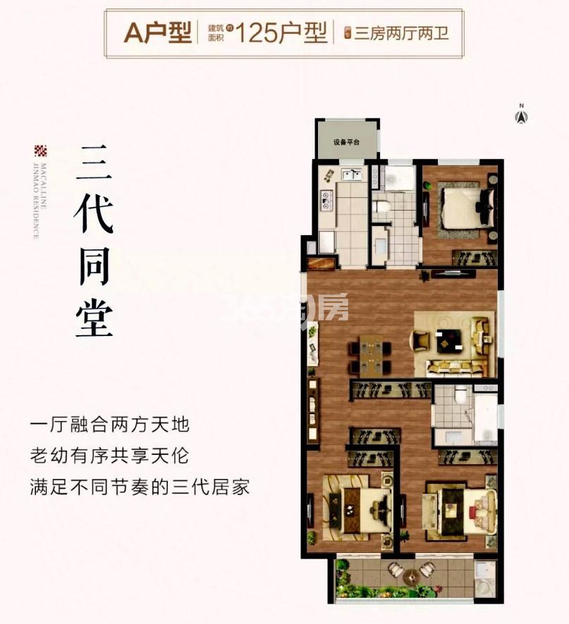 红星云龙金茂悦A户型(125平)