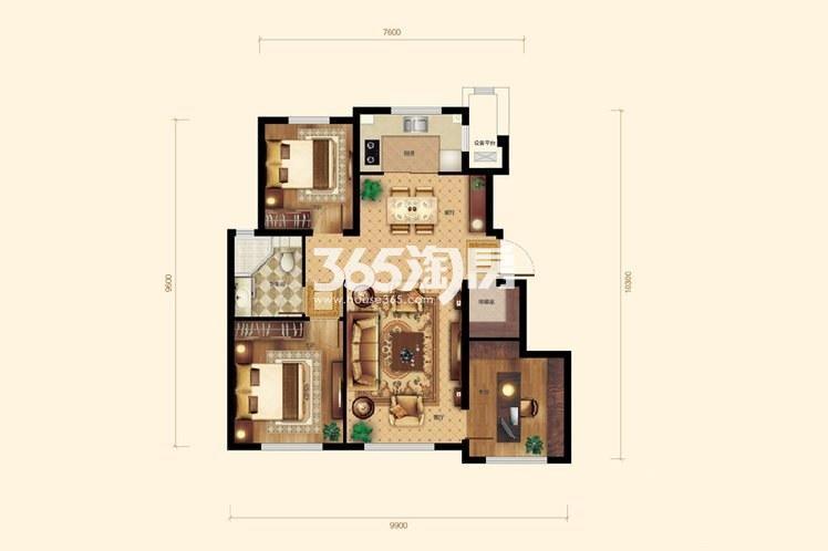 3室2厅1卫1厨 101平米