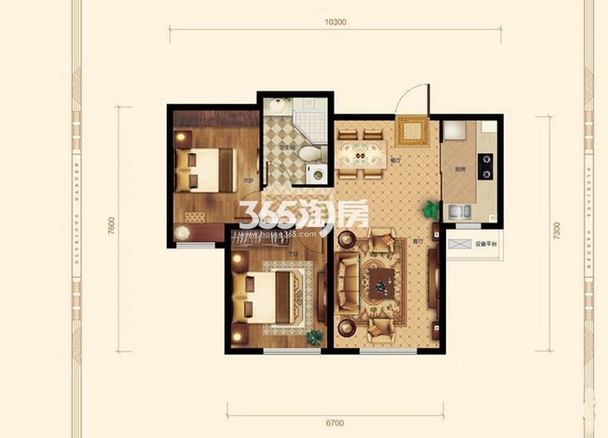 2室2厅1卫85平米