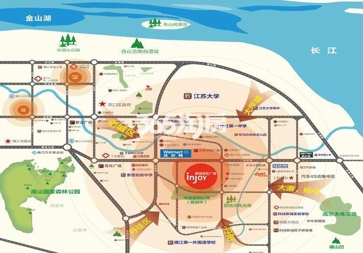 镇江新城吾悦广场交通图