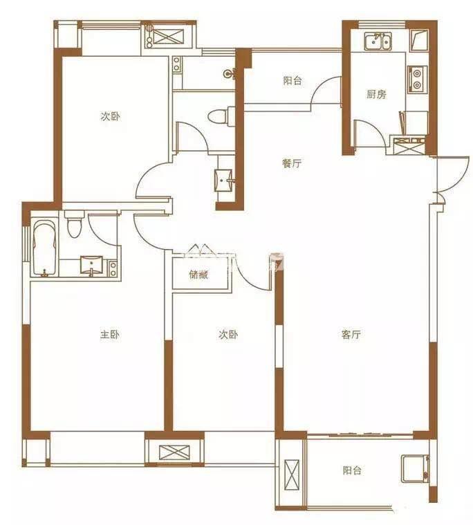 中电颐和府邸143㎡三房两厅两卫户型图