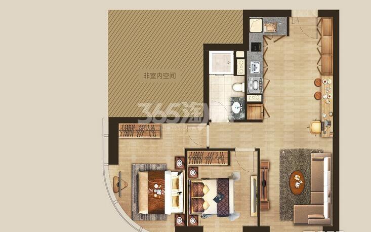 丰隆城市中心T3-40年产权公寓CS-2-1户型